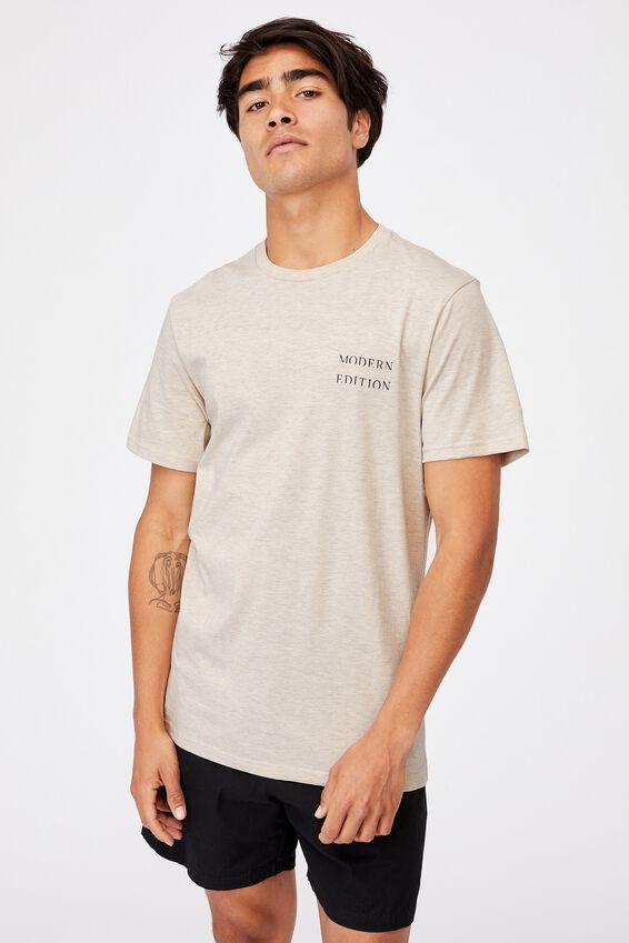 Tbar Text T-Shirt, OATMEAL MARLE/MODERN EDITION HORIZON