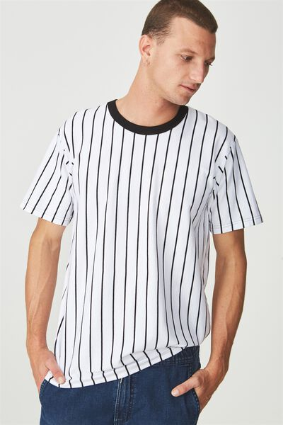 Downtown Loose Fit Tee, WHITE/BLACK VERTICAL STRIPE