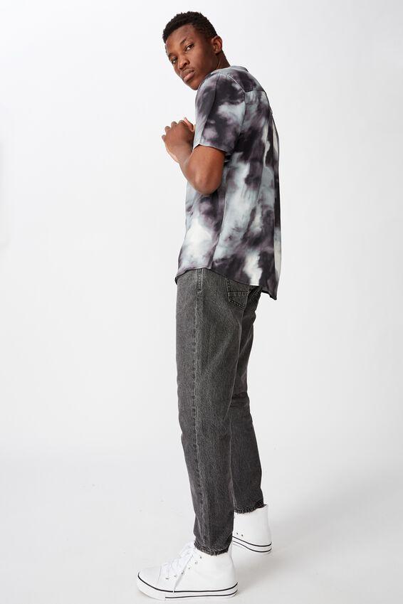 91 Short Sleeve Shirt, BLACK WHITE PLASMA