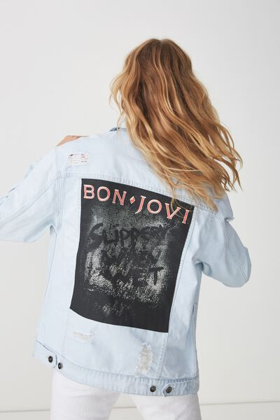 Rodeo Collaboration Jacket, BON JOVI SLIPPERY WHEN WET/BLEACH