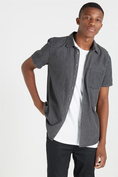 91 Short Sleeve Shirt, BLACK CHAMBRAY