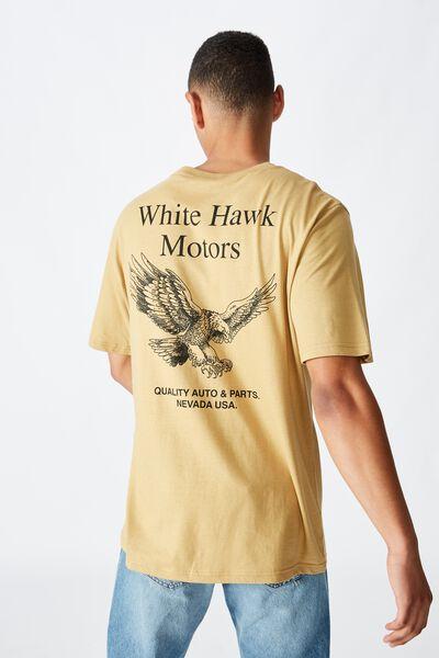 Tbar Moto T-Shirt, SK8 CAMEL/WHITE HAWK MOTORS