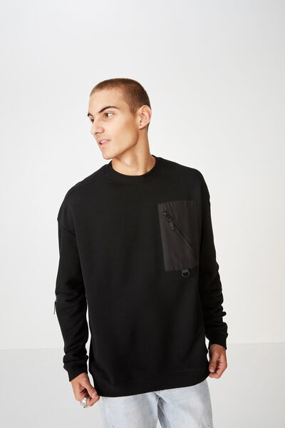 Drop Shoulder Crew Fleece, BLACK/NYLON CHEST POCKET