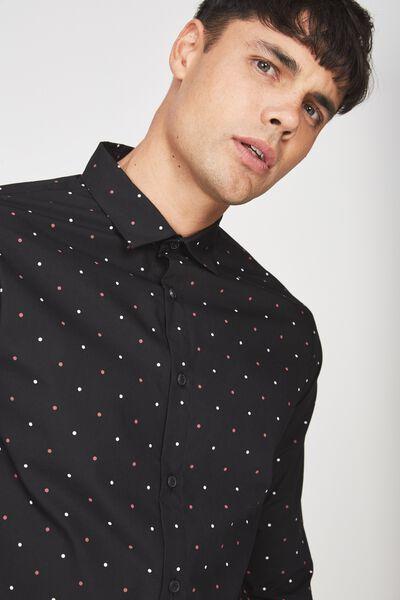 Slim Smart Shirt, BLACK BURG/WHITE DOT