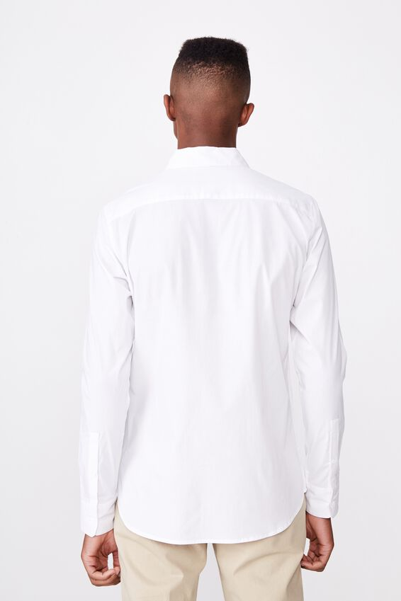 Tailored Long Sleeve Shirt, WHITE