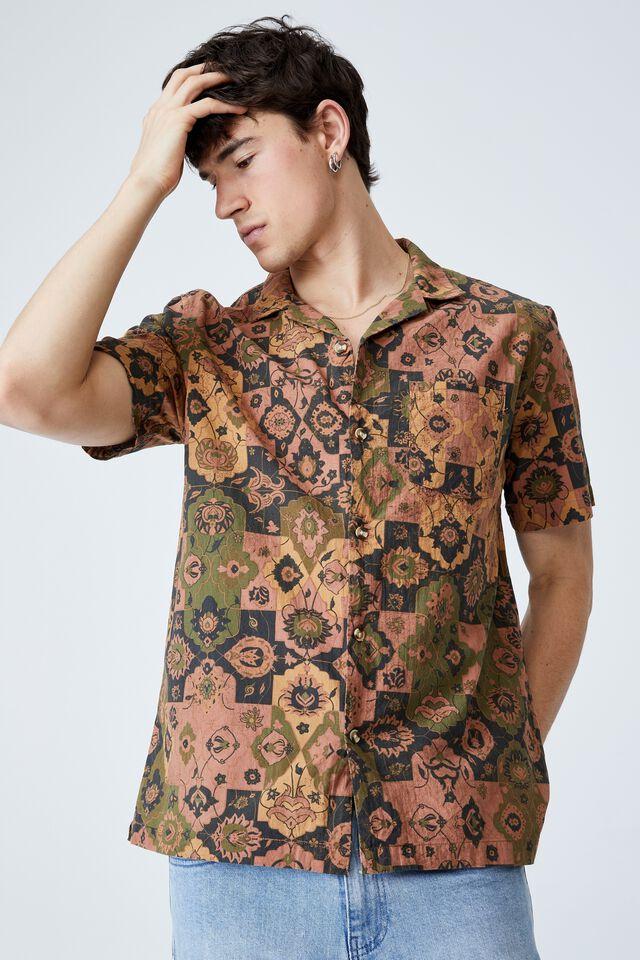 Riviera Short Sleeve Shirt, MUSTARD 70 S PAISLEY