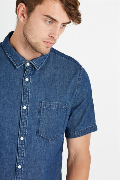 91 Short Sleeve Shirt, INDIGO DENIM