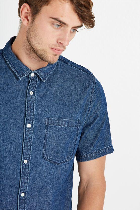 91 Short Sleeve Shirt, INDIGO DENIM