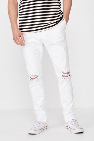 Slim Urban Zip Jean, WHITE BLOWOUT