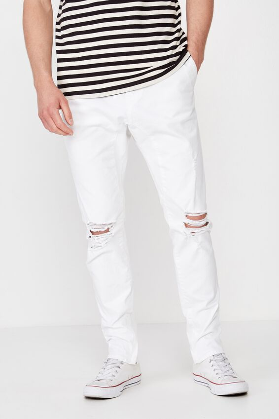 Slim Urban Zip Jean, WHITE BLOWOUT