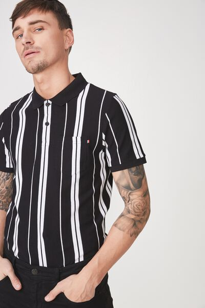 Icon Polo, BLACK WHITE STRIPE