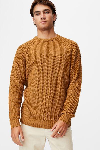 Fisherman Knit, MUSTARD MARLE NEP