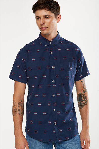 Vintage Prep Short Sleeve Shirt, NAVY JACQUARD