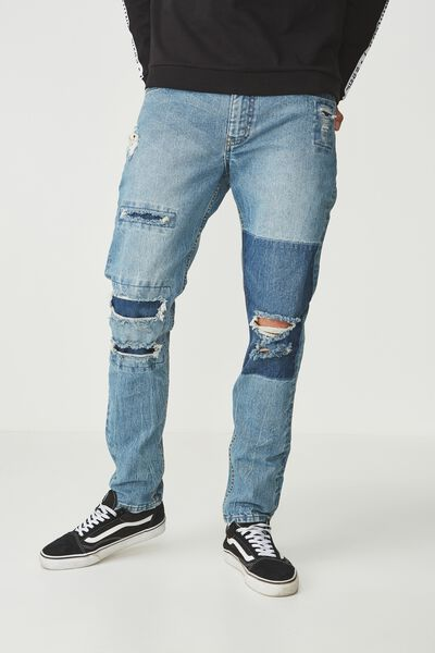 Tapered Leg Jean, VINTAGE BLUE DESTROYED