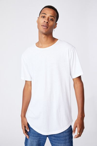 Longline Scoop Burnout T-Shirt, WHITE