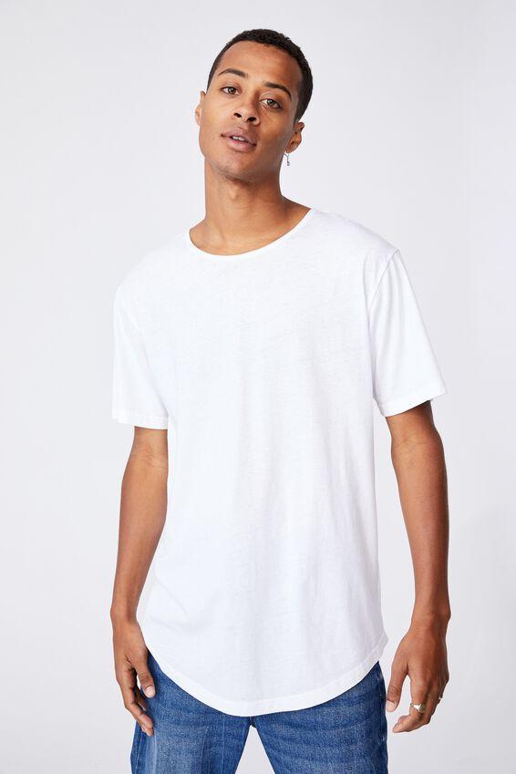 Longline Scoop Burnout T-Shirt, WHITE