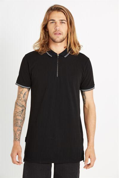 Ae Short Sleeve Longline Zip Polo, BLACK