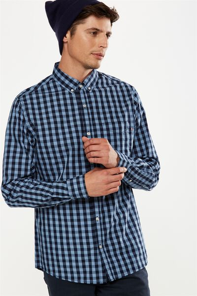 Brunswick Shirt 3, NAVY GINGHAM CHECK