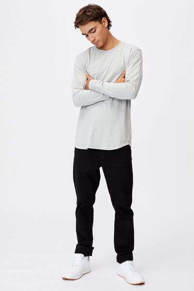 Longline Scoop Long Sleeve T-Shirt, OVERCAST GREY ACID