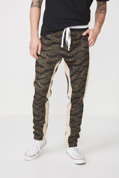Urban Side Stripe Track Pant, CAMO / STONE PANEL
