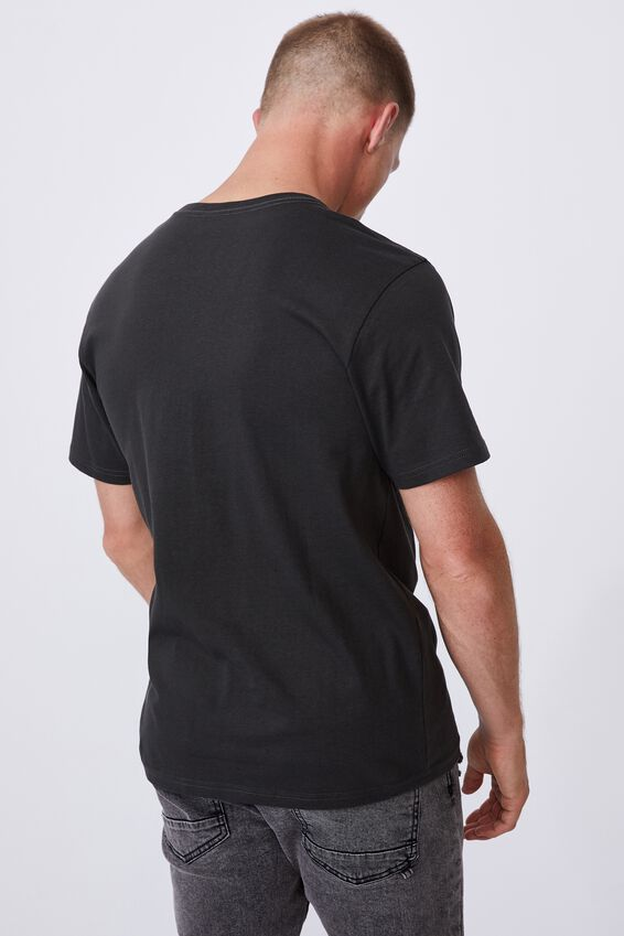 Tbar Text T-Shirt, WASHED BLACK/PEACE EMBROIDERY