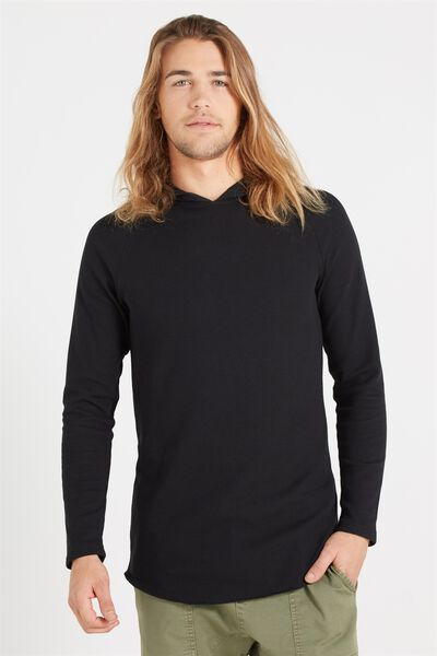 Hooded Waffle Long Sleeve, BLACK