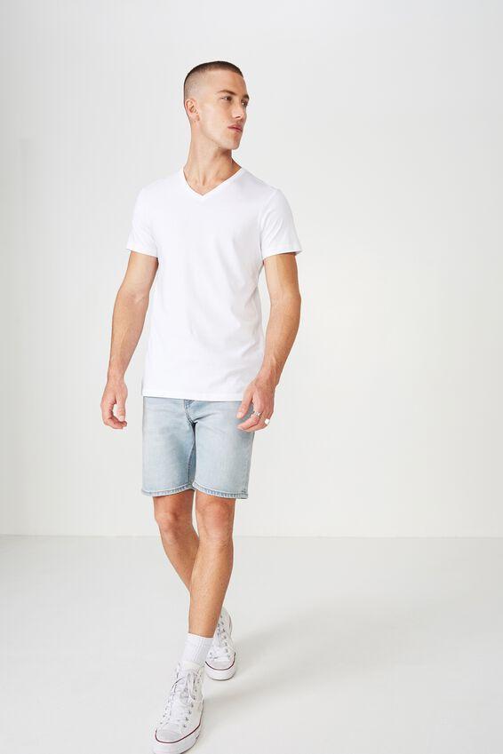 Essential Vee Neck, WHITE