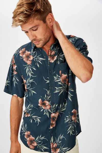 Short Sleeve Resort Shirt, NAVY RED FLORAL
