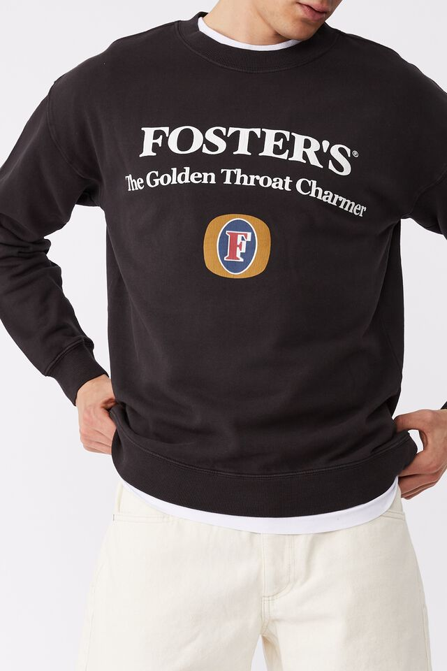 Fosters Crew Fleece, LCN CUB WASHED BLACK/FOSTERS THE GOLDEN THROA