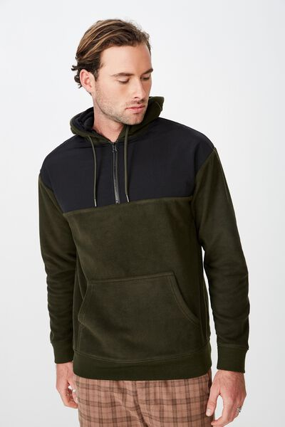 Drop Shoulder Polar Fleece Hood, KHAKI/BLACK NYLON