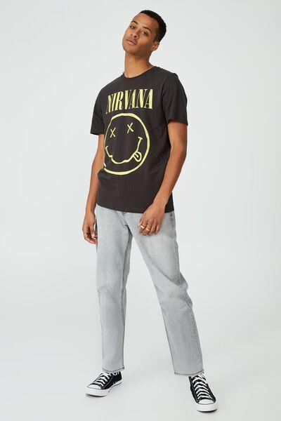Tbar Collab Music T-Shirt, LCN LN WASHED BLACK/NIRVANA-SMILE