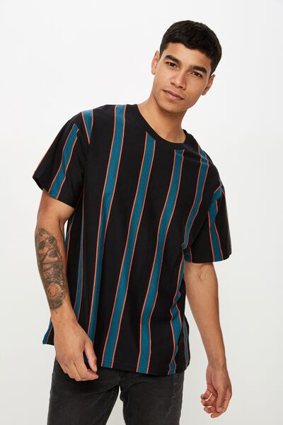Downtown Loose Fit Tee, BLACK/DEEP SEA TEAL/CHERRY TOMATO VERTICAL STRIPE