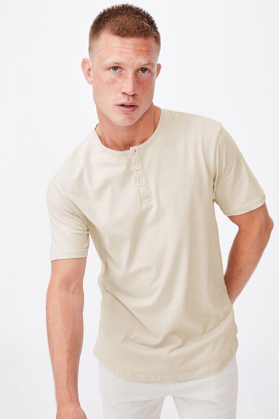 Longline Scoop Henley T-Shirt, IVORY