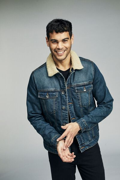 Borg Denim Jacket, WASHED INDIGO