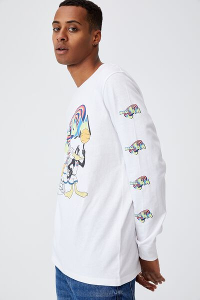 Tbar Collab Long Sleeve T-Shirt, LCN WB WHITE/SPACE JAM-GAME TIME