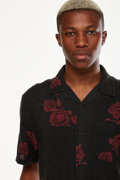 91 Short Sleeve Shirt, BLACK ROSE VINE