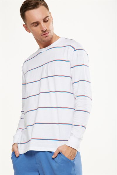 Graduate Ls Tee, WHITE/LIGHT BLUE/WASHED RED/LIGHT GREY STRIPE