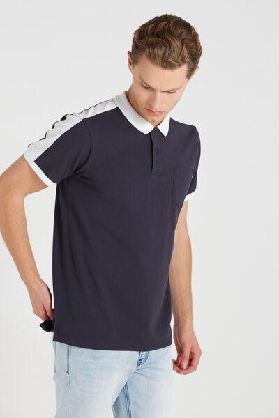 Short Sleeve Panel Polo Slim Fit, NAVY/WHITE
