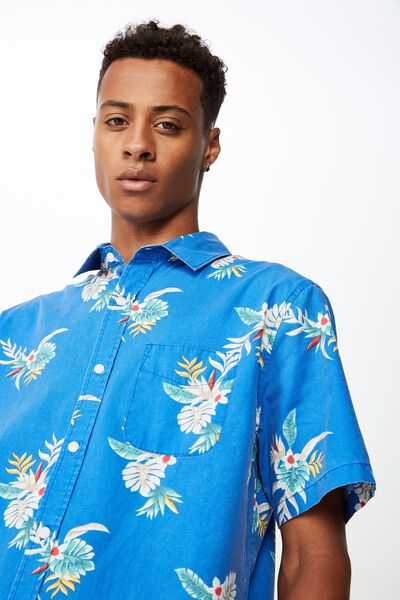 Short Sleeve Resort Shirt, POP BLUE FLORAL RESORT
