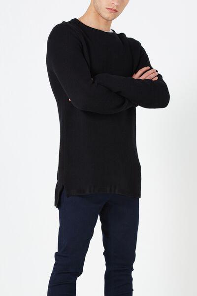 Split Hem Knit, BLACK