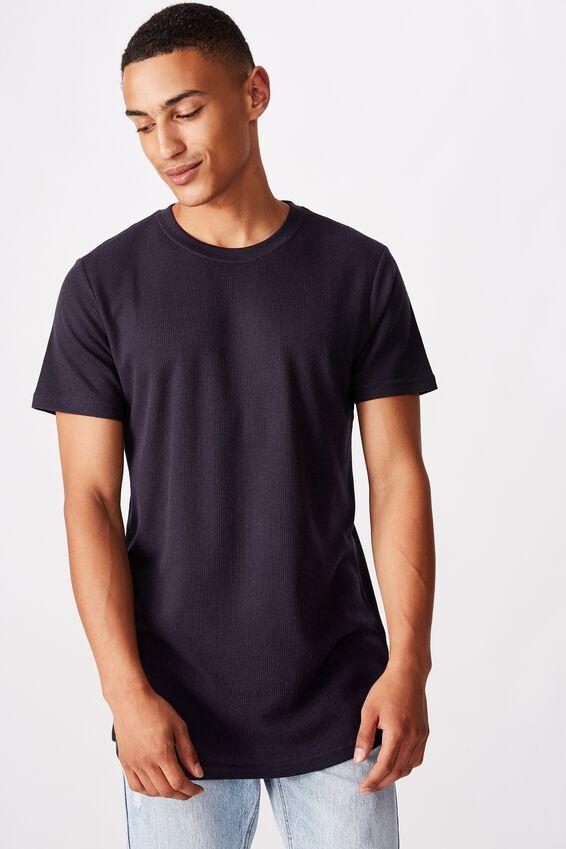 Longline Scoop Waffle T-Shirt, TRUE NAVY WAFFLE