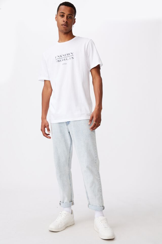 Tbar Text T-Shirt, WHITE/UNKNOWN PROJECTS