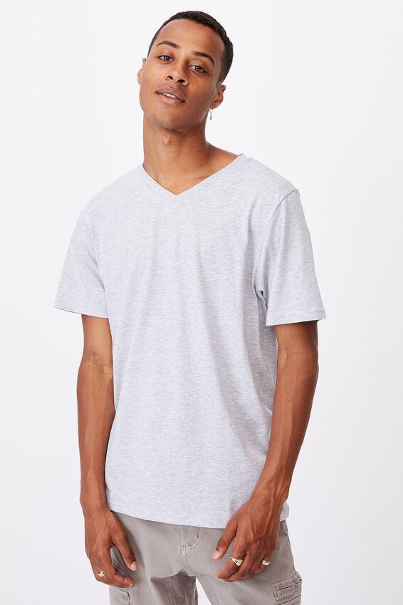 Essential Vee Neck T-Shirt, LIGHT GREY MARLE