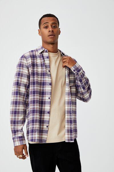 Washed Long Sleeve Check Shirt, PURPLE ORANGE CHECK
