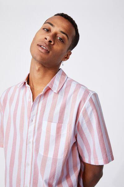 Vintage Prep Short Sleeve Shirt, WHITE RED BOLD STRIPE