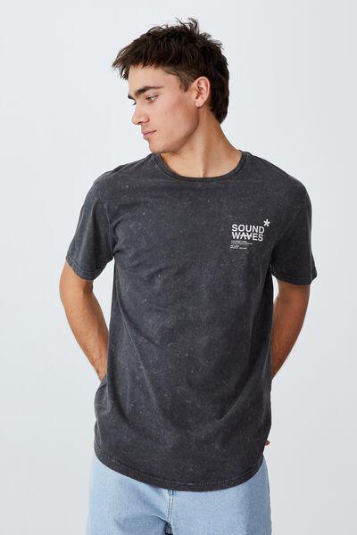 Longline Scoop T-Shirt, FADED SLATE/SOUND WAVES