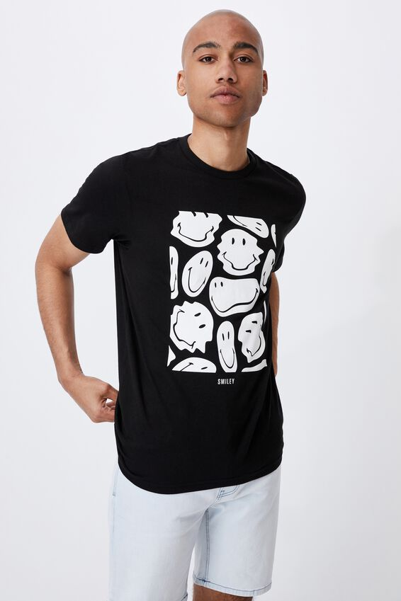 Tbar Collab Pop Culture T-Shirt, LCN SMI BLACK/SMILEY-WARPED