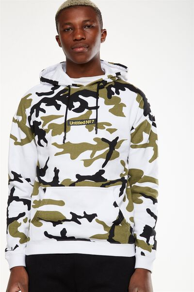 Drop Shoulder Pullover Fleece, WHITE CAMO/UNTITLED NO 7