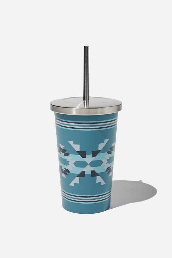 Metal Smoothie Cup 500Ml, TEAL IKAT