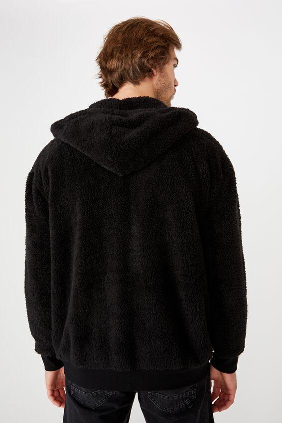 Teddy Fleece Zip Thru Hood, BLACK